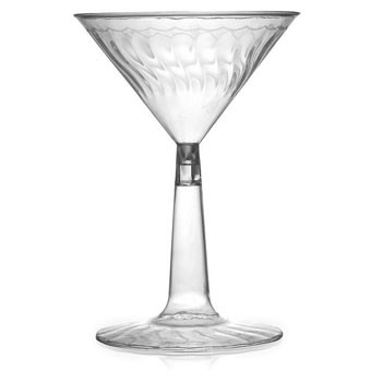 Fineline Settings 2306 6 oz. Flairware Clear Plastic Martini Glass - 12 doz