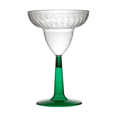 Fineline Settings 2312-GRN 12 oz. Plastic Martini Glass with Green Base - 8 doz