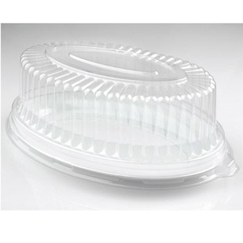 Fineline Settings 9514-L Platter Pleasers Clear Plastic Oval Dome Lid 14
