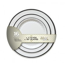 Fineline Settings BB507 Silver Splendor White Plastic Plates Party Combo - 256 pcs