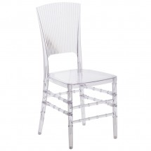 Flash Furniture  BH-H006-CRYSTAL-GG Elegance Crystal Ice Stacking Chair with Vertical Line Design