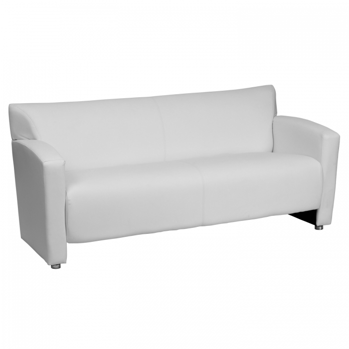 Flash Furniture 222-3-WH-GG HERCULES Majesty Series White Leather Sofa