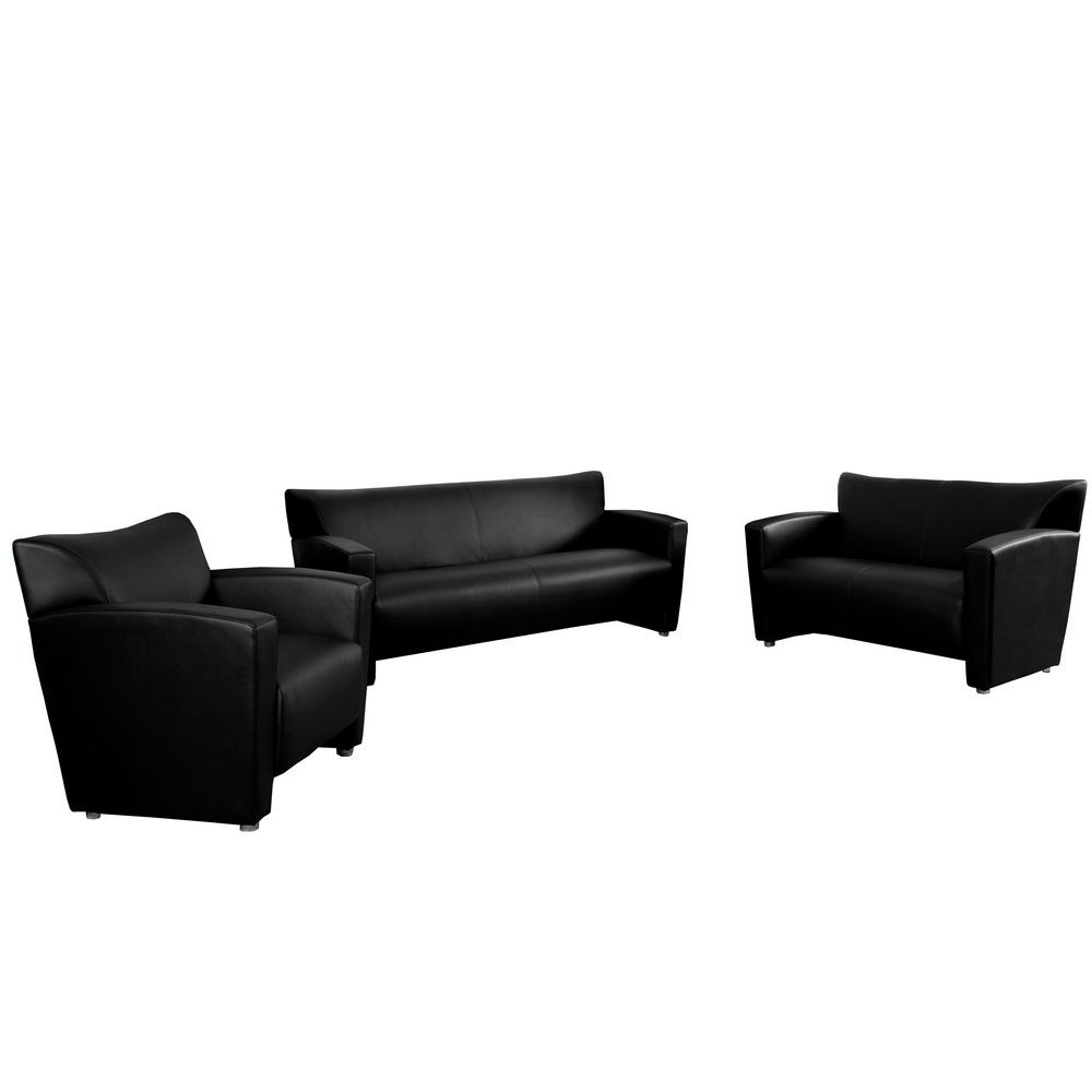 Flash Furniture 222-SET-BK-GG HERCULES Majesty Series Contemporary Reception Set in Black