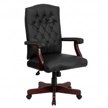 Flash Furniture 801L-LF0005-BK-LEA-GG Martha Washington Traditional Black Leather Executive Swivel Chair