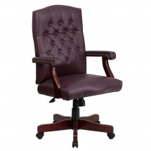 Flash Furniture 801L-LF0019-BY-LEA-GG Martha Washington Traditional Burgundy Leather Executive Swivel Chair