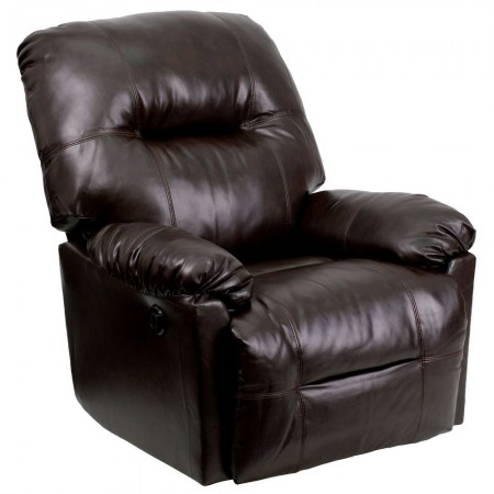 Flash Furniture AM-CP9350-9075-GG Contemporary Bentley Brown Leather Chaise Power Recliner