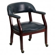Flash Furniture B-Z100-NAVY-GG Navy Vinyl Luxurious Conference Chair with Casters
