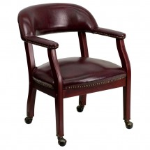 Flash Furniture B-Z100-OXBLOOD-GG Oxblood Vinyl Luxurious Conference Chair with Casters