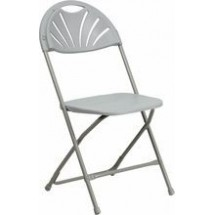 Flash Furniture BH-D0002-GY-GG HERCULES Series Capacity 440 Lbs. Gray Plastic Fan Back Folding Chair