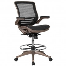 Flash Furniture BL-LB-8801X-D-GG Mid-Back Transparent Black Mesh Drafting Chair with Melrose Gold Frame and Flip-Up Arms