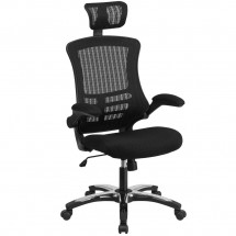 Flash Furniture BL-X-5H-GG High Back Black Mesh Ergonomic Executive Swivel Office Chair with Chrome Plated Nylon Base and Flip-Up Arms