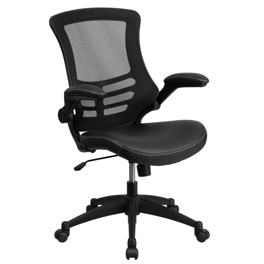 Flash Furniture BL-X-5M-LEA-GG Black Mid-Back Mesh Chair with Leather Seat and Nylon Base