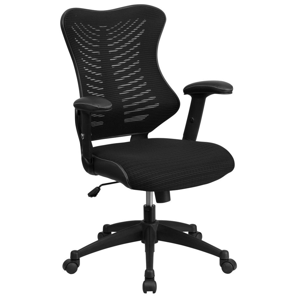 Flash Furniture BL-ZP-806-BK-GG Black High Back Mesh Chair with Nylon Base