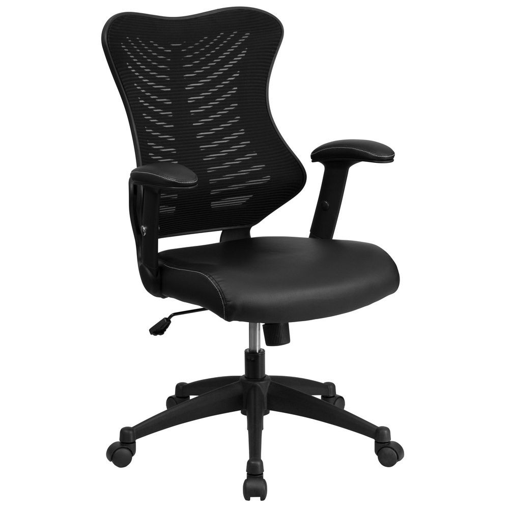 Flash Furniture BL-ZP-806-BK-LEA-GG Black High Back Mesh Chair with Leather Seat and Nylon Base