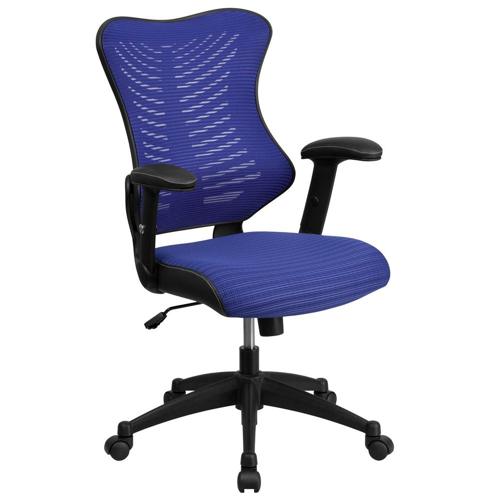 Flash Furniture BL-ZP-806-BL-GG Blue High Back Mesh Chair with Nylon Base