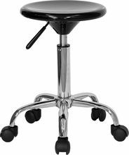 Flash Furniture BT-131-2-GG Mobile Black Plastic Adjustable Stool with Heavy Duty Polished Chrome Base