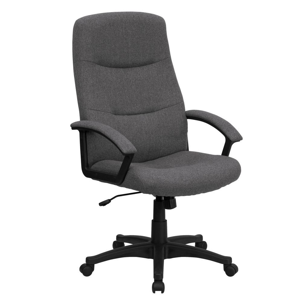 Flash Furniture BT-134A-GY-GG High Back Gray Fabric Executive Swivel Office Chair