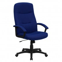Flash Furniture BT-134A-NVY-GG High Back Navy Blue Fabric Executive Swivel Office Chair