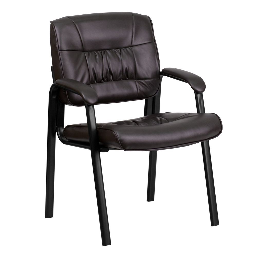 Flash Furniture BT-1404-BN-GG Brown Leather Guest / Reception Chair with Black Frame Finish