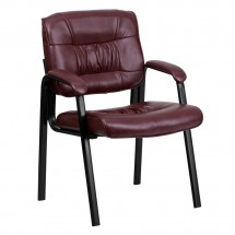 Flash Furniture BT-1404-BURG-GG Burgundy Leather Guest / Reception Chair with Black Frame Finish