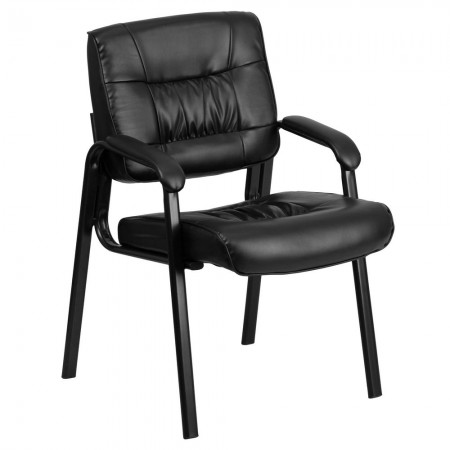 Flash Furniture BT-1404-GG Black Leather Guest / Reception Chair with Black Frame Finish