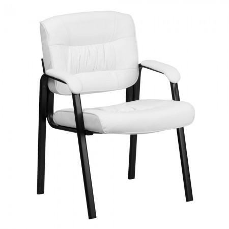 Flash Furniture BT-1404-WH-GG White Leather Guest / Reception Chair with Black Frame Finish