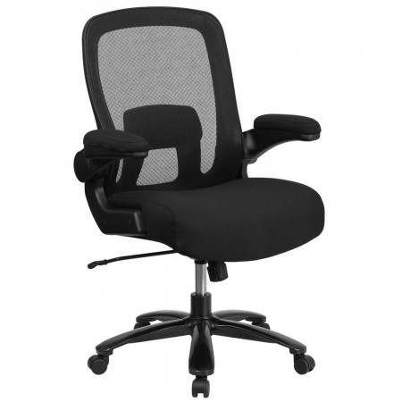 Flash Furniture BL-ZP-8805-BK-GG Mid-Back Black Mesh Swivel Task Chair with Gray Frame and Flip-Up Arms