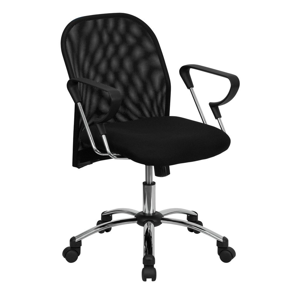 Flash Furniture BT-215-GG Mid-Back Black Mesh Office Chair with Chrome Base
