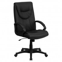 Flash Furniture BT-238-BK-GG High Back Black Leather Executive Swivel Office Chair