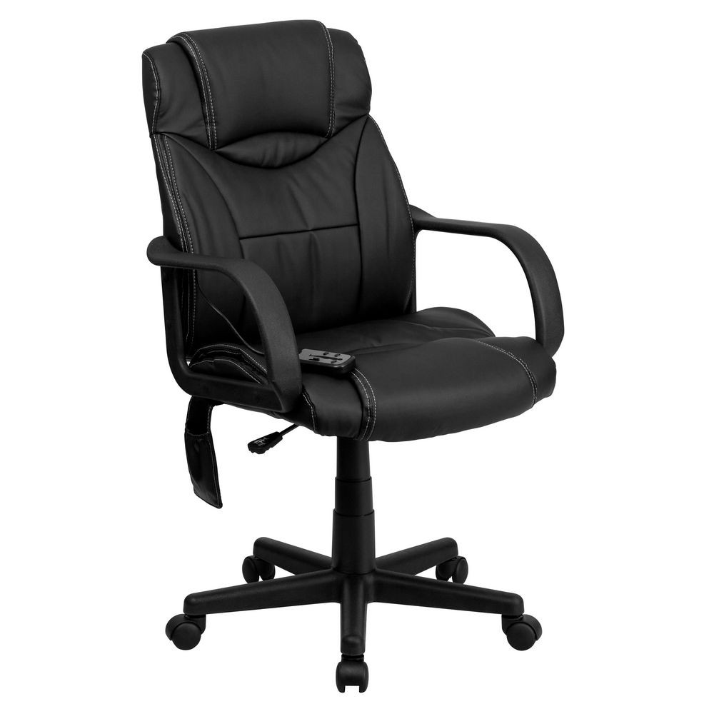 Flash Furniture BT-2690P-GG High Back Massaging Black Leather Executive Office Chair