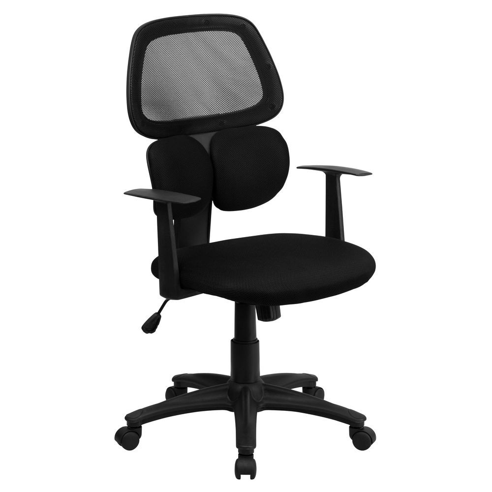 Flash Furniture BT-2755-BK-GG Mid-Back Black Mesh Chair with Flexible Dual Lumbar Support