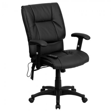 Flash Furniture BT-2770P-GG Mid-Back Massaging Black Leather Executive Office Chair