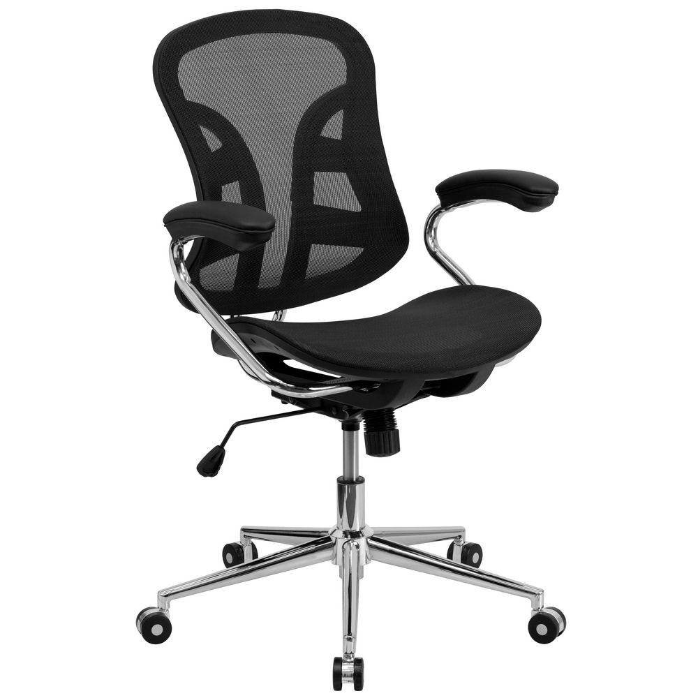 Flash Furniture BT-2779-GG Mid-Back Black Mesh Computer Chair with Chrome Base