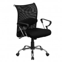 Flash Furniture BT-2905-GG Mid-Back Manager's Chair with Black Mesh Back and Padded Mesh Seat