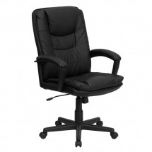Flash Furniture BT-2921-BK-GG High Back Black Leather Executive Swivel Office Chair