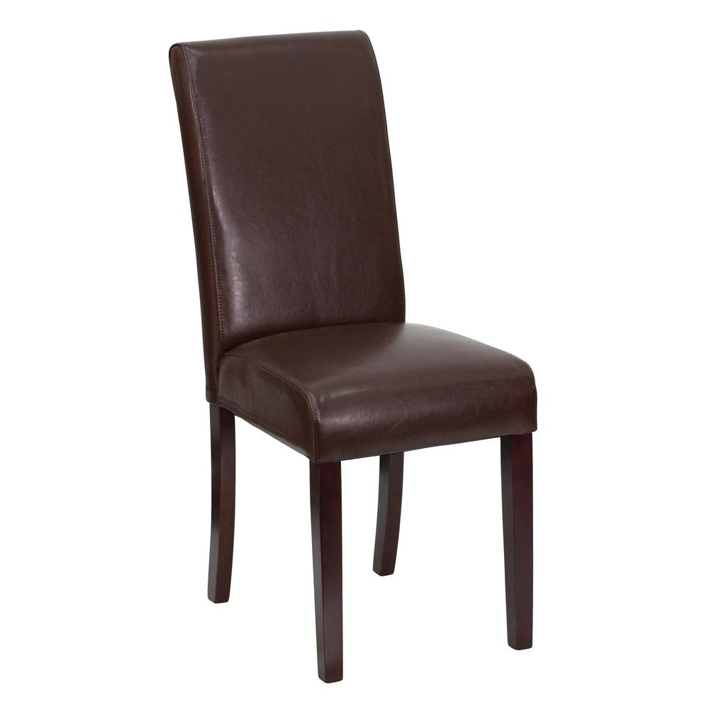 Flash Furniture BT-350-BRN-LEA-008-GG Dark Brown Leather Upholstered Parsons Chair