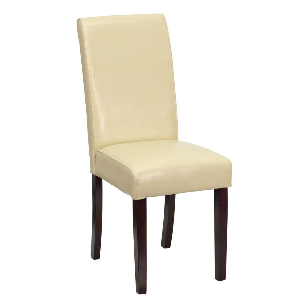 Flash Furniture BT-350-IVORY-050-GG Ivory Leather Upholstered Parsons Chair