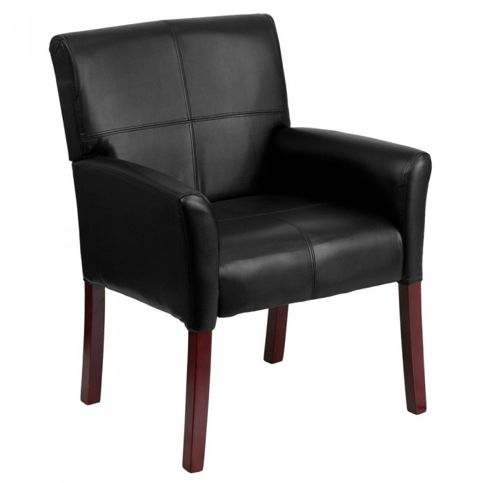 Flash Furniture BT-353-BK-LEA-GG Black Leather Executive Side Chair or Reception Chair with Mahogany Legs