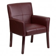 Flash Furniture BT-353-BURG-GG Burgundy Leather Executive Side Chair or Reception Chair with Mahogany Legs