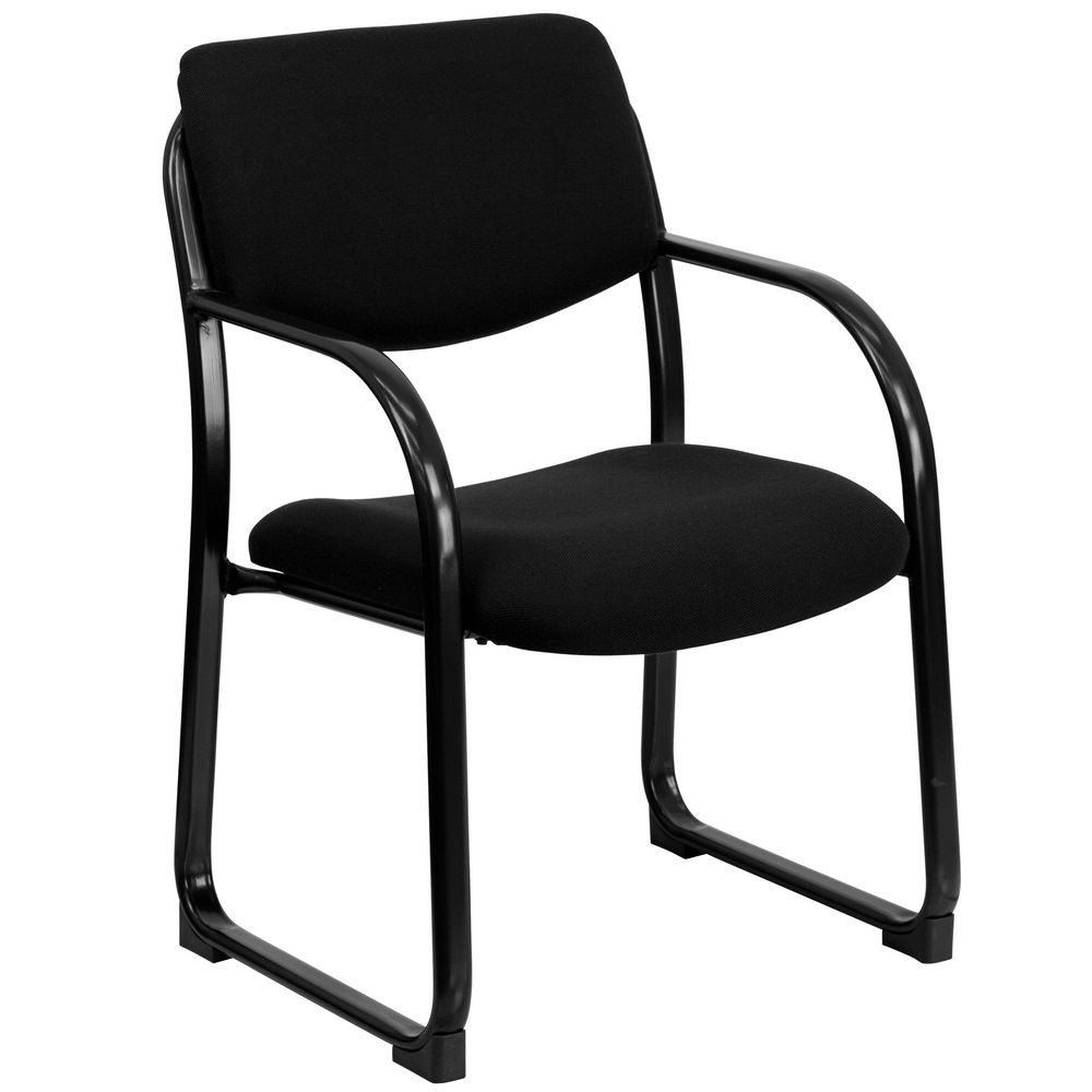 Flash Furniture BT-508-BK-GG Black Fabric Executive Side Chair with Sled Base