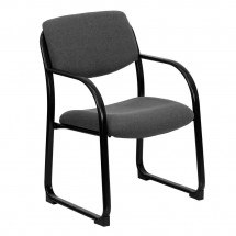 Flash Furniture BT-508-GY-GG Gray Fabric Executive Side Chair with Sled Base