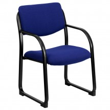 Flash Furniture BT-508-NVY-GG Navy Fabric Executive Side Chair with Sled Base