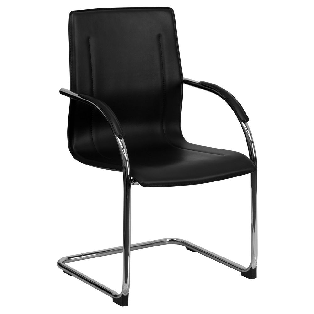 Flash Furniture BT-509-BK-GG Black Vinyl Side Chair with Chrome Sled Base
