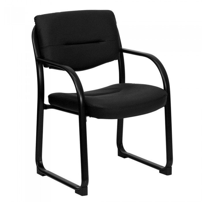 Flash Furniture BT-510-LEA-BK-GG Black Leather Executive Side Chair with Sled Base