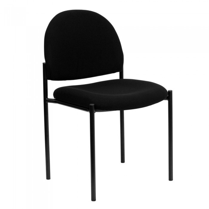 Flash Furniture BT-515-1-BK-GG Black Fabric Comfortable Stackable Steel Side Chair