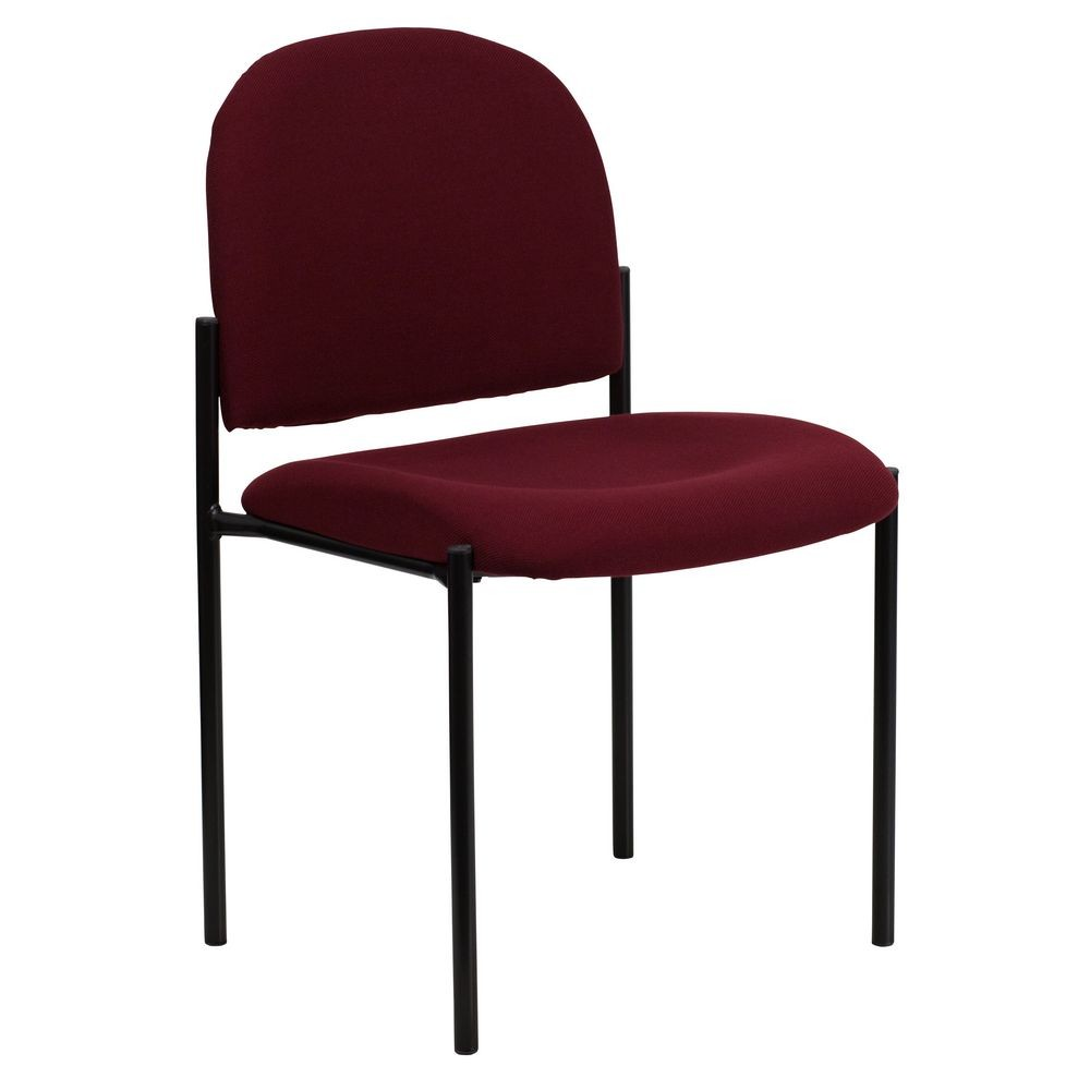 Flash Furniture BT-515-1-BY-GG Burgundy Fabric Comfortable Stackable Steel Side Chair