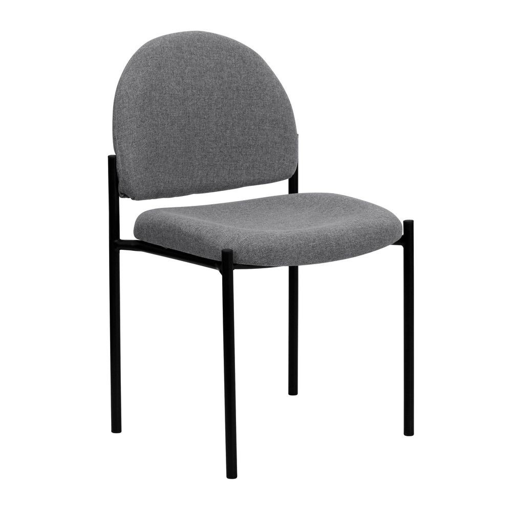 Flash Furniture BT-515-1-GY-GG Gray Fabric Comfortable Stackable Steel Side Chair