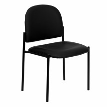 Flash Furniture BT-515-1-VINYL-GG Black Vinyl Comfortable Stackable Steel Side Chair