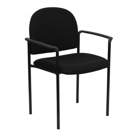 Flash Furniture BT-516-1-BK-GG Black Fabric Comfortable Stackable Steel Side Chair with Arms