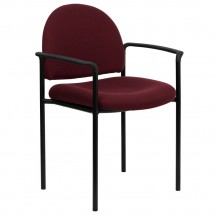 Flash Furniture BT-516-1-BY-GG Burgundy Fabric Comfortable Stackable Steel Side Chair with Arms